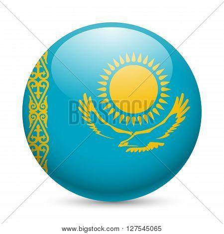Flag of Kazakhstan as round glossy icon. Button with Kazakh flag