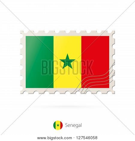 Postage Stamp With The Image Of Senegal Flag.