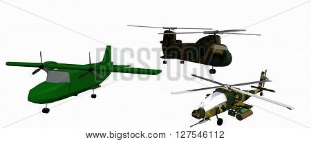 three low-poly 3D models of combat helicopters. White background. Apache, CH 46, Casa 212. 3D rendering, 3D illustration
