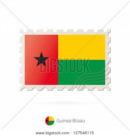 Postage Stamp With The Image Of Guinea-bissau Flag.