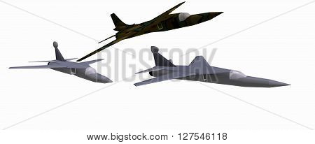 three low-poly 3D models of combat aircraft. White background. F-111D, EF-111A. 3D rendering, 3D illustration