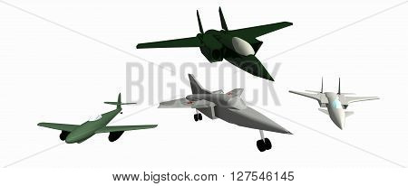 four simple  low-poly 3D models of aircraft. White background. Messerschmitt Me.262. Mig-23. Mig-25. Mig-35. 3D rendering, 3D illustration