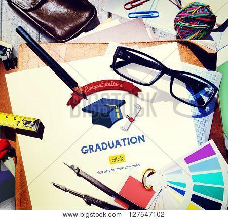 Graduation Congratulation Celebration Certificate Mortar Board Concept