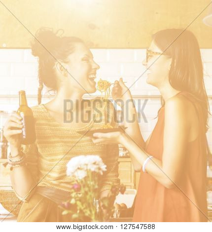 Women Friends Lifestyle Eating Happiness Concept