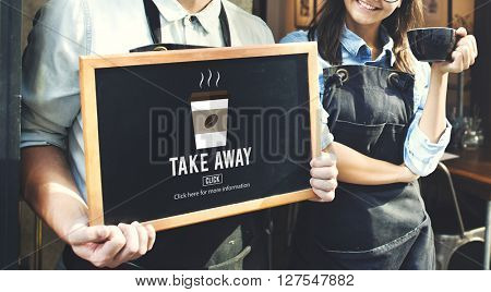 Coffee Take Away Order Online Delivery Menu Concept