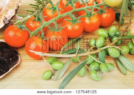 vegetables on cutting board over white background