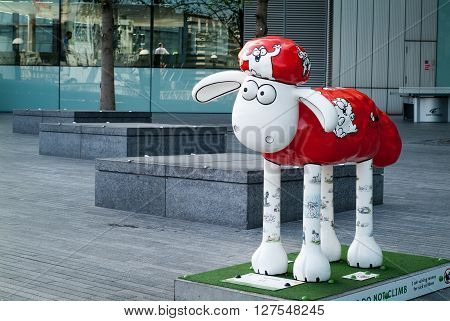 London UK - May 4th 2015: photo of Mittens by Simon Tofield displayed in central London as part of the Shaun in the City installation.