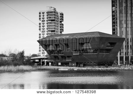 London UK - May 4th 2015: photo of the Canada Water Library by CZWG in London. Processed in B&W.