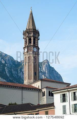 Lecco, Italy - September 1st 2015: Basilica of Saint Nicholas (Campanile di San Nicol