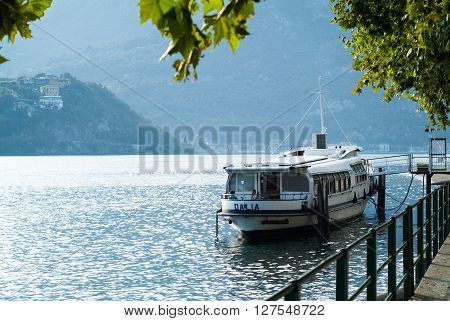 Lecco, Italy - September 1st 2015: Boat Dalia parked near Lecco Italy photographed on September 1st 2015.