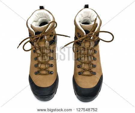 pair of boots isolated on the white background