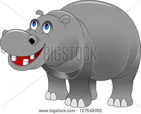 cheerful grey hippo on a white background vector and illustration
