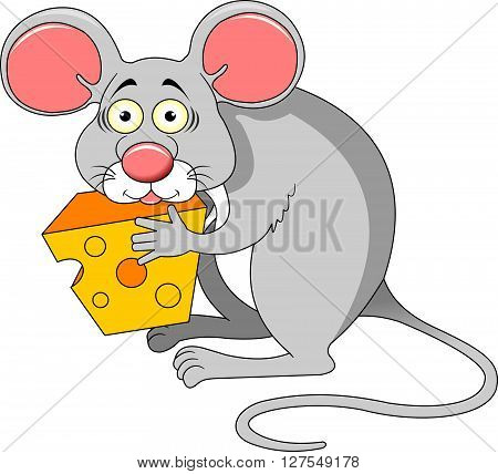 Funky gray mouse with a big piece of cheese vector