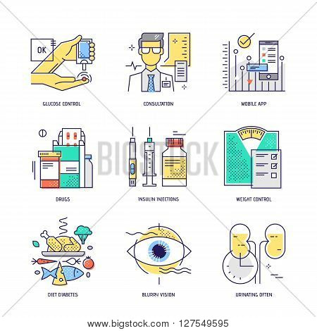 Modern thin line icons set of diabetes live. Premium quality outline signs collection. Stock vector illustration in flat design.