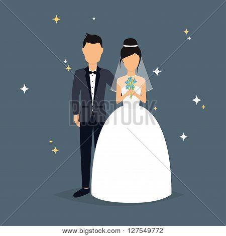 ???????? Bride And Groom. Wedding Design Over Grey Background. Vector Illustration.rgb