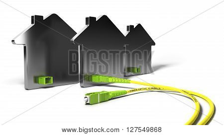 3D illustration of a FTTH network for high broadband access over white background