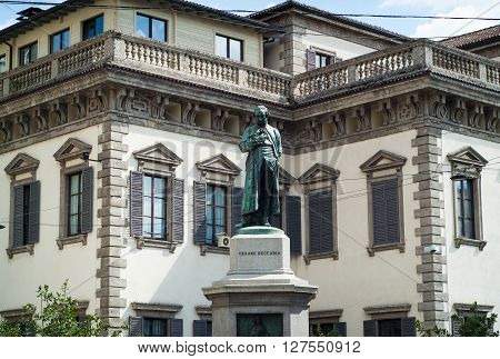 photo of a monument dedicated to Cesare Beccaria a prominent Italian criminologist jurist philosopher and politician