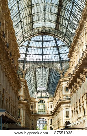Milan, Italy - September 5th 2015: interior of the Galleria Vittorio Emanuele II in Milan photographed on September 5th 2015.