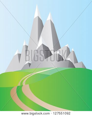 Silver mountains with white snow on top and blue sky and green valleys with a road. Digital background vector illustration.