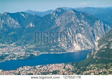a beautiful view of Lecco from Piani d'Erna (part of the Alps) near Lake Como in Italy