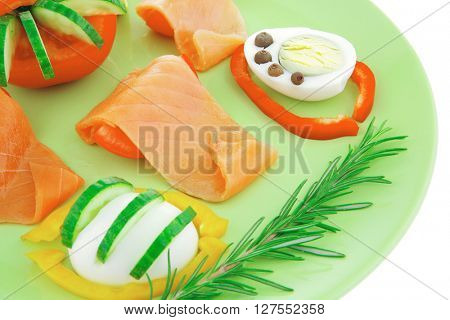 image of red smoked salmon and vegetables