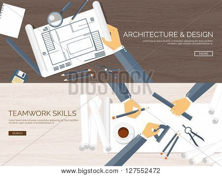 Vector illustration. Flat architectural project. Teamwork. Building, planning. Construction. Pencil. Architecture, design.