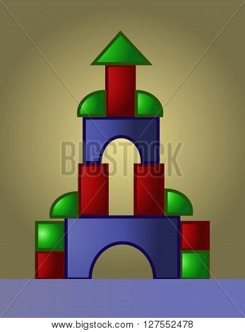 Colored castle playground built from small red green and blue parts digital vector image