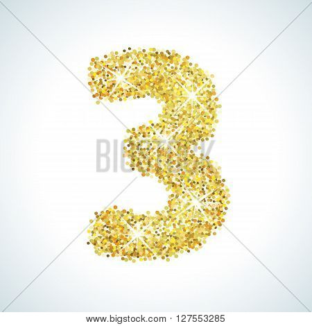 Three number in golden style. illustration gold design. Formed by yellow shapes. For party poster, greeting card, banner or invitation. Cute numerical icon and sign.