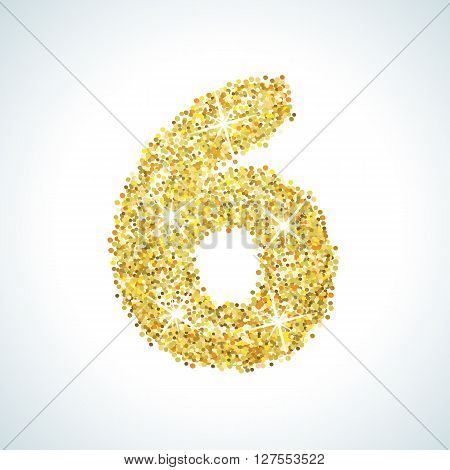 Six number in golden style. illustration gold design. Formed by yellow shapes. For party poster, greeting card, banner or invitation. Cute numerical icon and sign.
