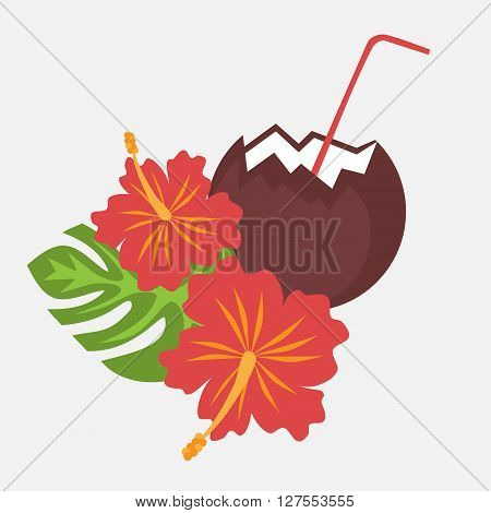 Poster with tropical palm leaves and flowers hibiscus flower hawaii with coconut drink, exotic summer flower background