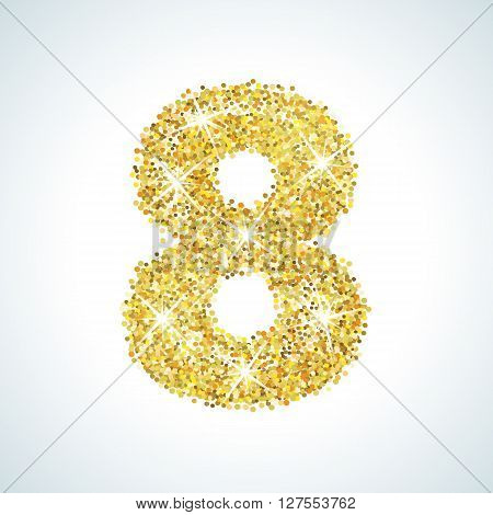 Eight number in golden style. illustration gold design. Formed by yellow shapes. For party poster, greeting card, banner or invitation. Cute numerical icon and sign.