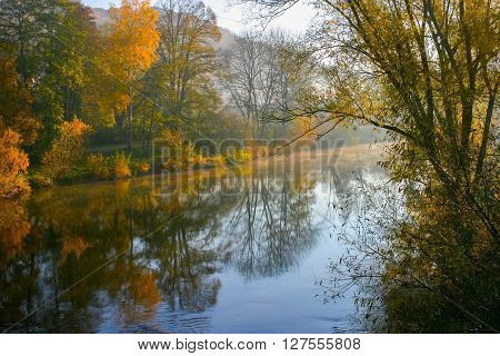 idyllic scenery around the Kocher river in Hohenlohe a district in Southern Germany