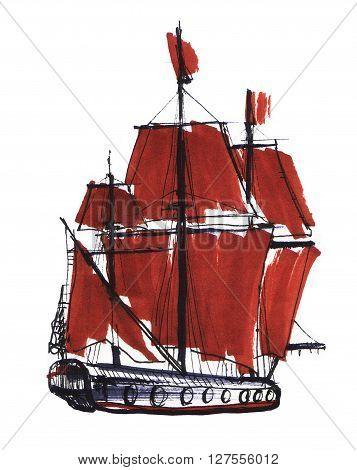 Marker sketch of the boat. Scarlet sails