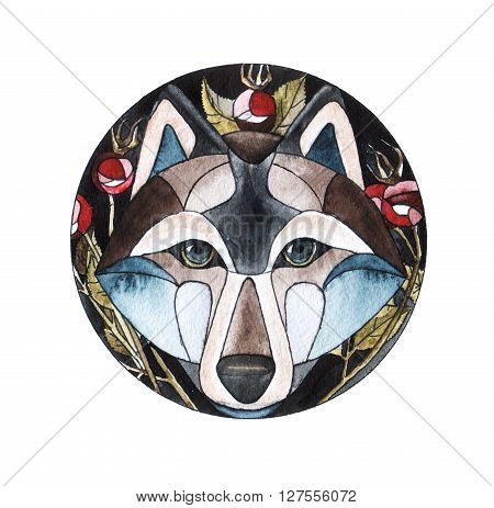 watercolor illustration. cute wolf with briar branch