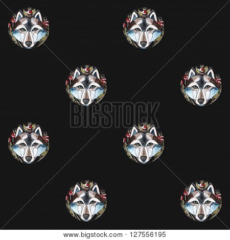 seamlees pattern. watercolor illustration of cute wolf with briar brunch