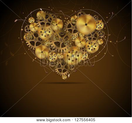 Abstract mechanical heart with floral elements vector illustration