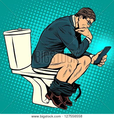 businessman thinker on toilet pop art retro style. A man reads news in the smartphone in the toilet. Modern life. Humor