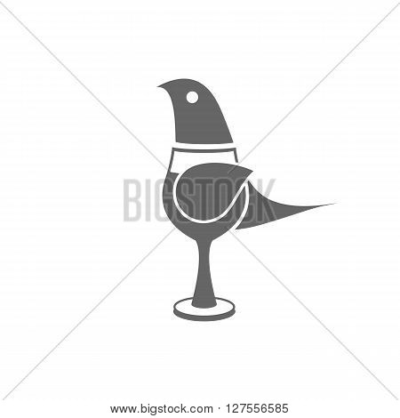 Cute little cartoon bird in glass on the white background