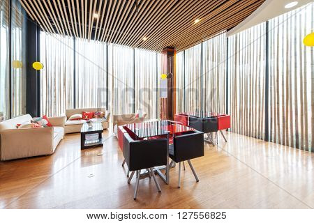 decoration and furniture of reception room in modern gym