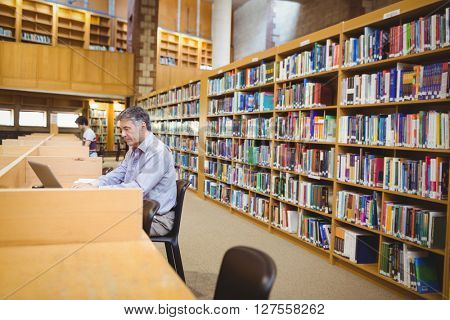 Professor sitting at desk using his laptop in college library