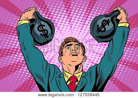 Businessman strongman lifts weights money pop art retro style. Money and Finance business concept