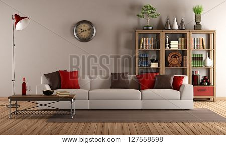 Vintage living room with modern sofa - 3d rendering