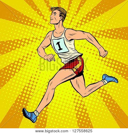 Runner male runner summer games athletics pop art retro style. Marathon. Athlete leader of the race
