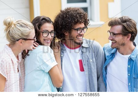 Friends in spectacles interacting with each other