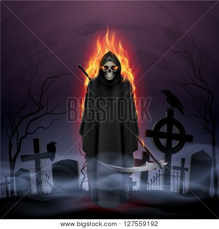 Ghost in fire with a scythe in the night.