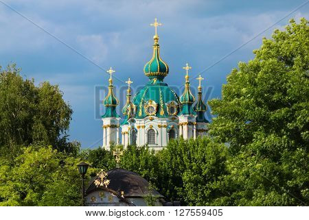 The Saint Andrew's Church view from foundation of the Church of the Dime Kiev Ukraine