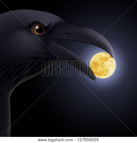 Black crow holding in its beak a moon