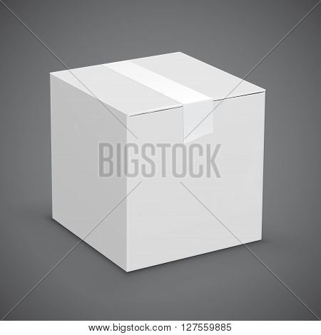 New white cardboard box taped up. Vector illustration set