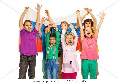 Group of seven kids with the flag of Russian Federation which they holding behind, isolated on white