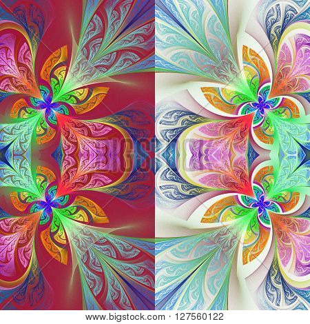 Two-tone flower pattern in stained-glass window style. You can use it for invitations notebook covers phone case postcards cards wallpapers and so on. Artwork for creative design art and entertainment.